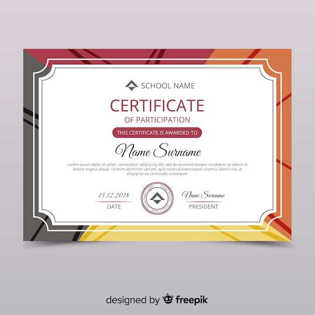 Certificate of participation template Vector | Free Download