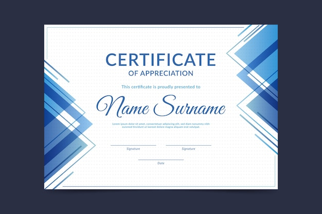 Certificate template in abstract design Free Vector