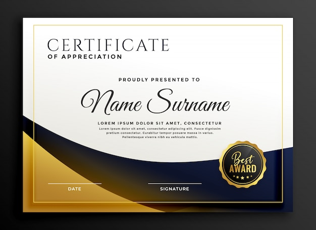 Certificate template award in golden style Free Vector