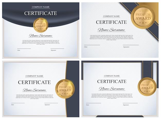 Certificate template background collection set. award diploma design blank.  illustration Premium Vector