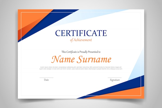 Certificate template banner with polygonal geometric shape on orange and blue Premium Vector