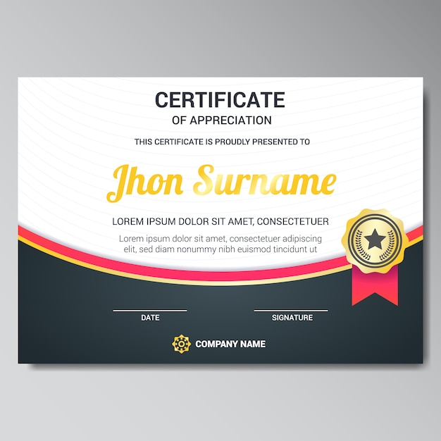 Certificate template design vector free download certificate template design free vector yadclub Choice Image