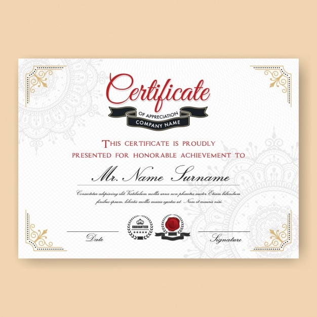 Certificate template design vector free download certificate template design free vector yelopaper