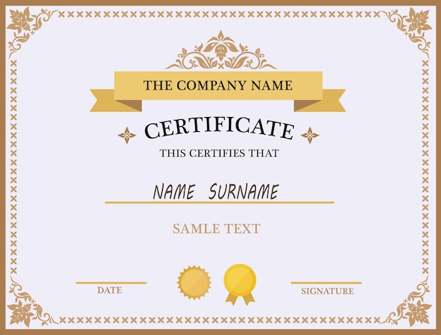 Lovely Certificate Template Design Free Vector With Certificate Designs Templates