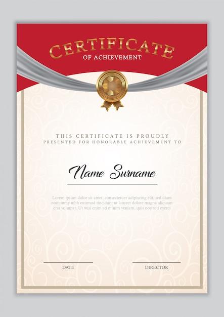 ボーダー飾り、スタンプ、サンプルテキスト付きの証明書テンプレートの卒業証書。 Premiumベクター