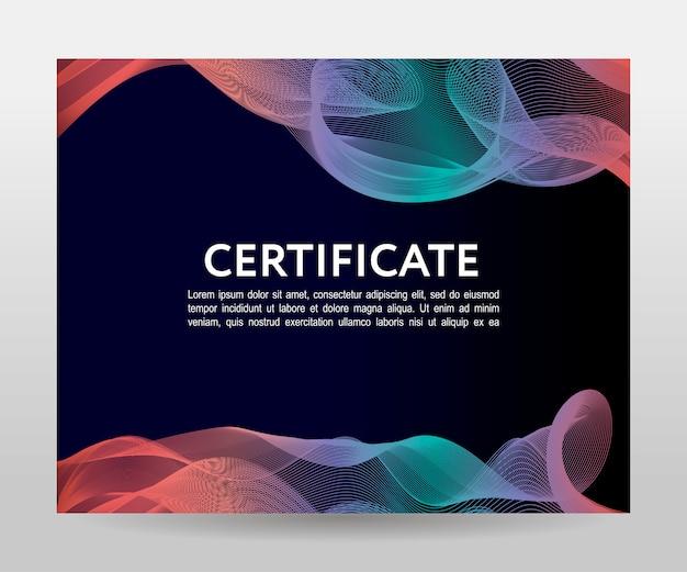 証明書。テンプレートの卒業証書、通貨。グラデーションフレーム Premiumベクター