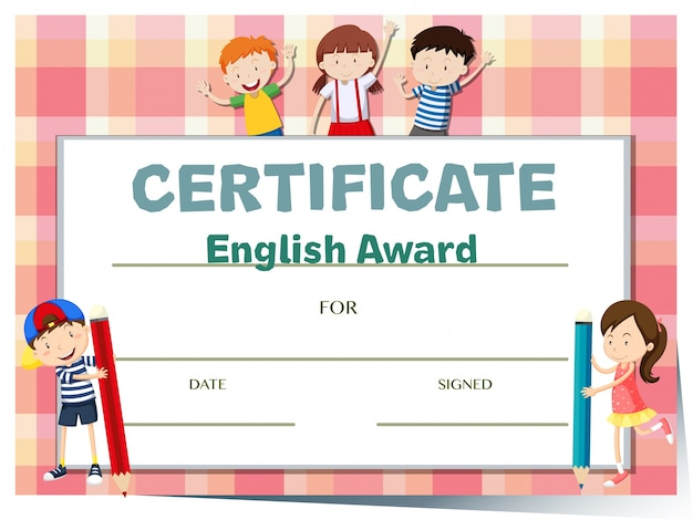 certificate template for english award with many kids free vector