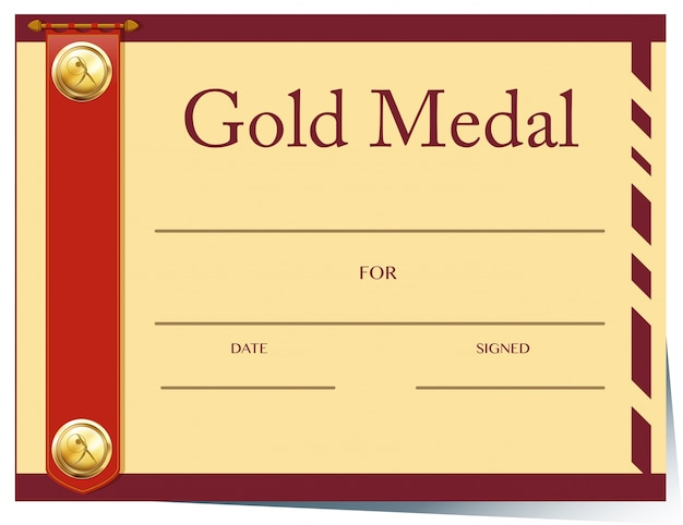 Certificate Template For Gold Medal On Paper Vector Free Download
