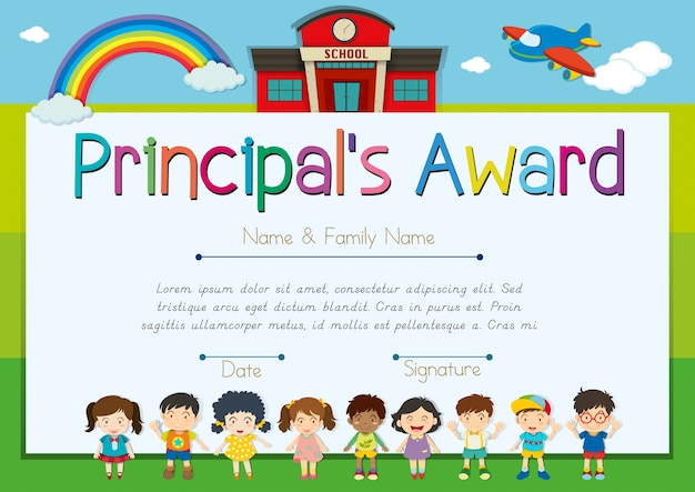 Certificate template for principal's award Free Vector