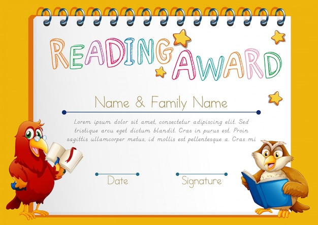 Certificate template for reading award vector free download certificate template for reading award free vector yadclub Choice Image