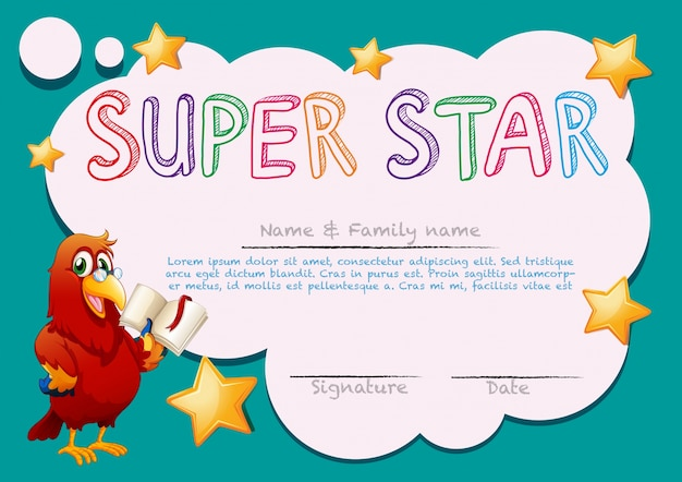 Certificate Template For Super Star Premium Vector  Name A Star Certificate Template