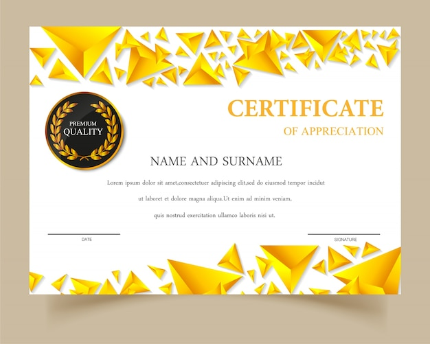 Certificate Template Gold Design Vector Free Download