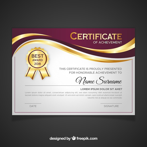 Certificate template in golden color Free Vector