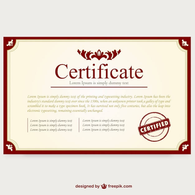 Certificate template layout Vector – Graduation Certificate Template Free