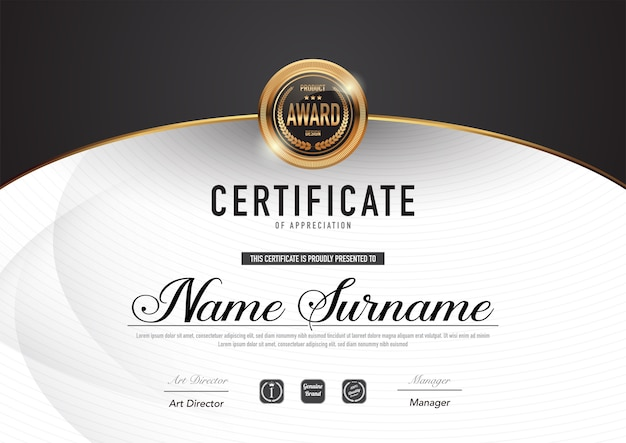 Certificate template luxury and diploma style. Premium Vector