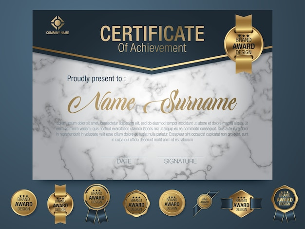 Certificate template luxury and diploma style Premium Vector