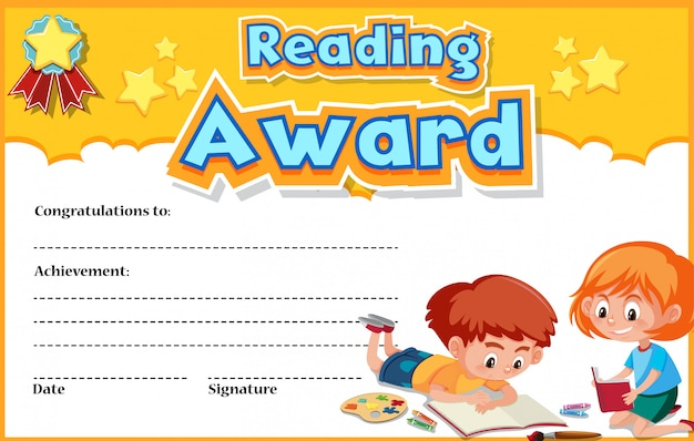 Certificate template for reading award with kids reading ...