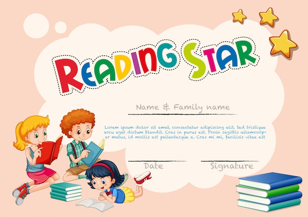 Certificate template for reading star Free Vector