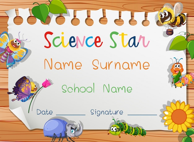 Certificate Template For Science Star Vector Free Download