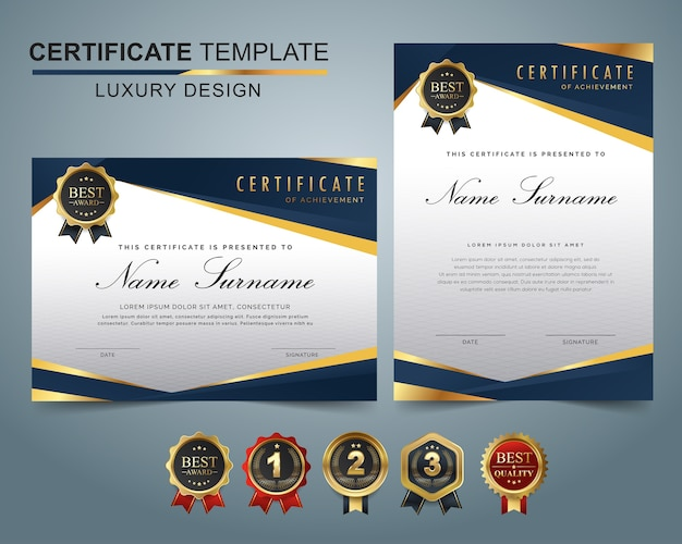Certificate template set of dark blue and golden shapes and badge. Premium Vector