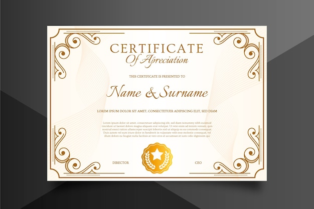 Certificate template in sophisticated style Free Vector