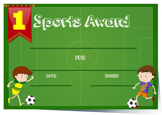 Certificate Template For Sports Award Vector Free Download