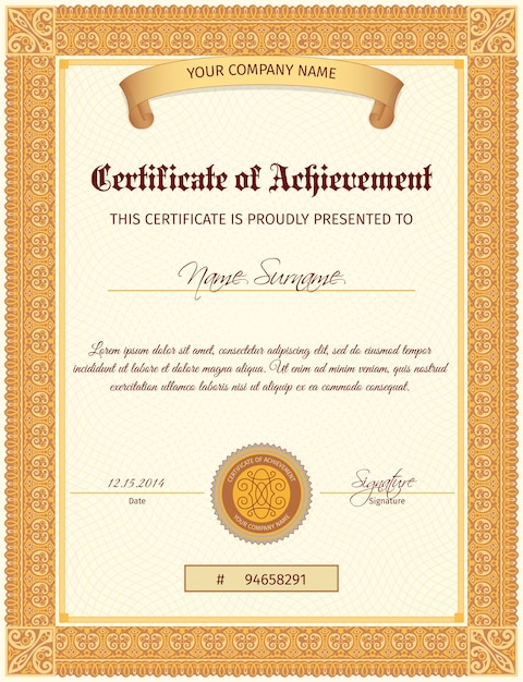 Certificate Template Vertical Vector Free Download