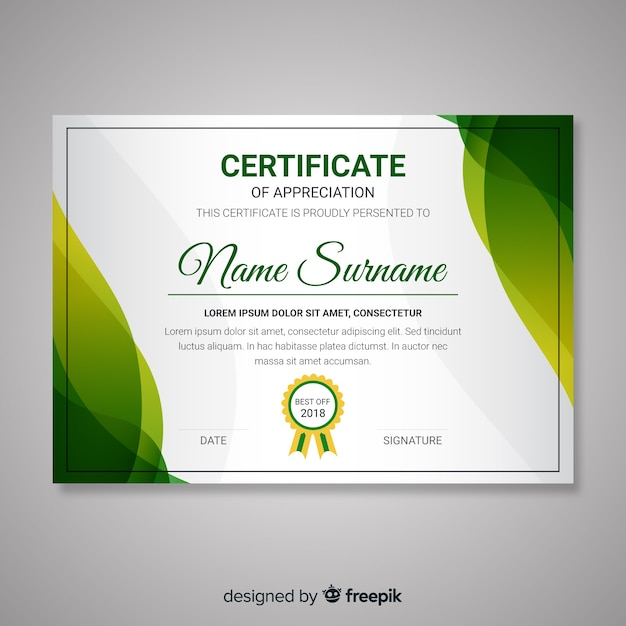 Certificate template with abstract modern shapes Free Vector
