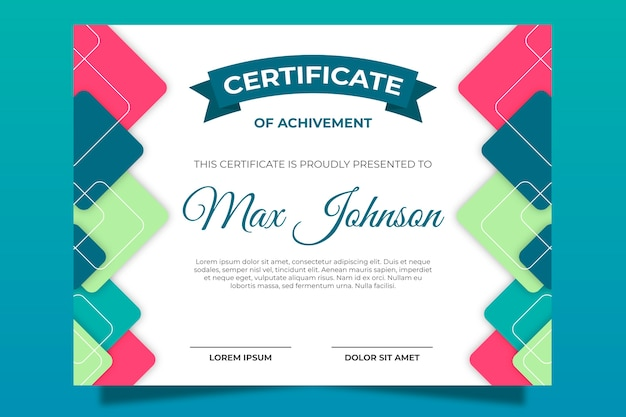 Certificate template with abstract shapes Free Vector