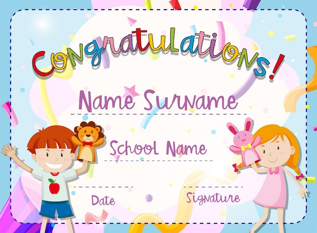 Certificate template with boy and girl Free Vector