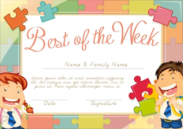 Certificate template with children background Free Vector