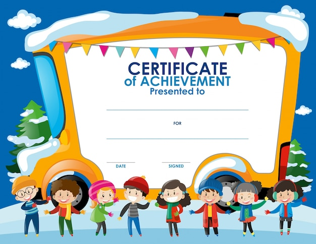 Certificate template with children in winter Vector – Certificate Template for Kids
