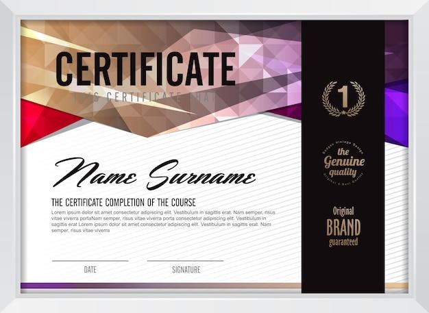 クリーンでモダンなパターンを持つ証明書テンプレート、豪華なゴールデン、エレガントでイラストの資格証明書空白テンプレート Premiumベクター