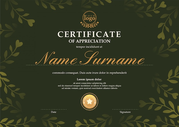 Certificate template with dark green floral leaf pattern background Premium Vector
