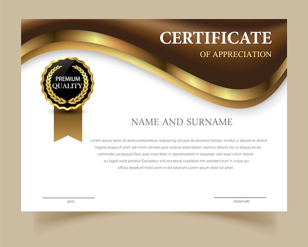 Certificate Template With Elegant Design Vector Free Download