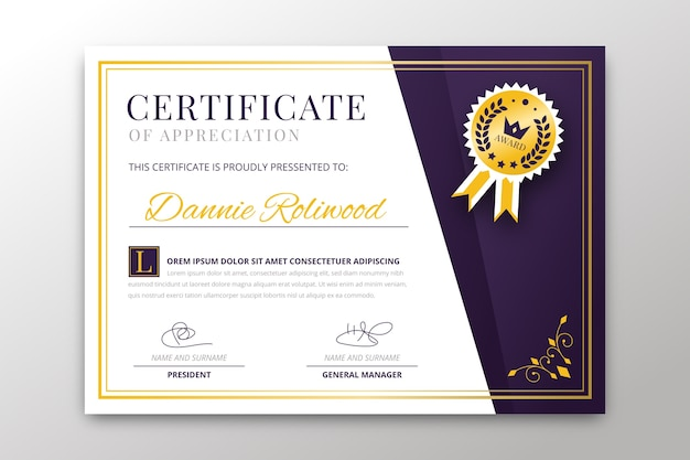 Certificate template with elegant theme Free Vector