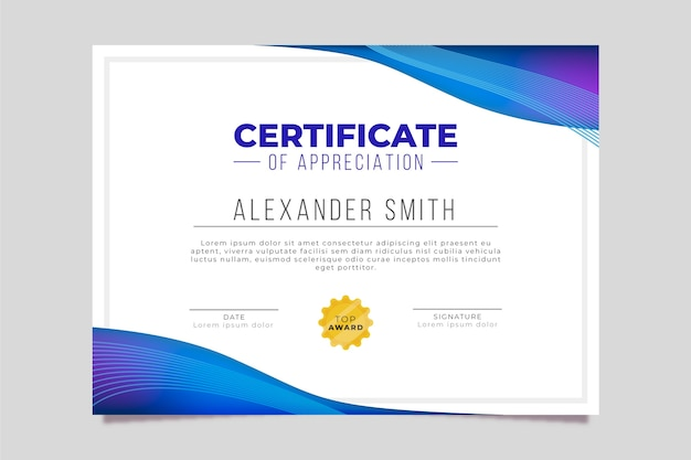 Certificate template with geometric design Free Vector