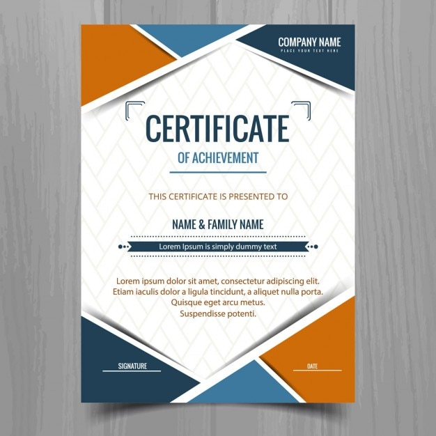 Certificate Template With Geometric Shapes Vector  Free Download