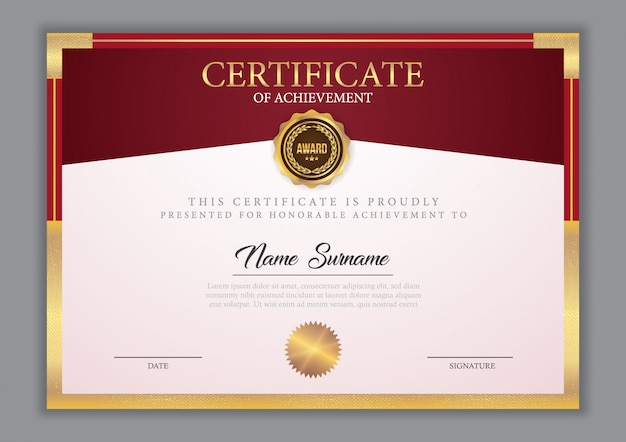 Certificate template with gold element Premium Vector