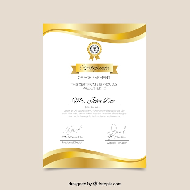 Certificate template with golden color Vector | Free Download