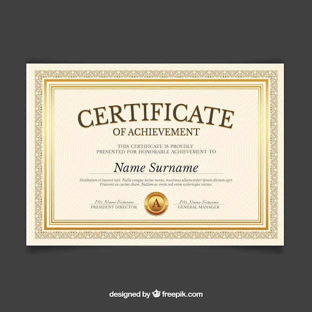 Certificate template with golden color Free Vector