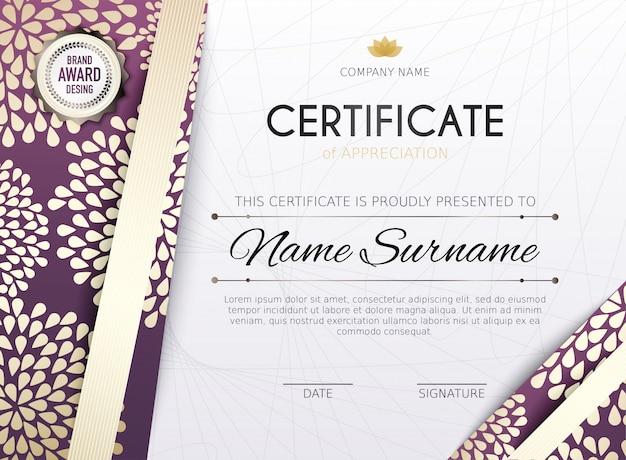 Certificate template with golden decoration element. design diploma graduation, award.  illustration. Premium Vector