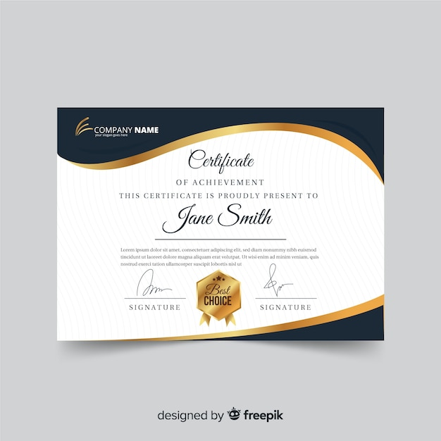 Certificate template with golden elements Free Vector