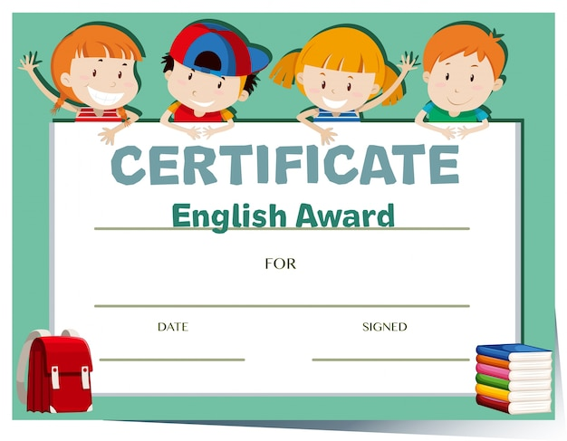Certificate template with happy kids vector free download for Certificate template for kids