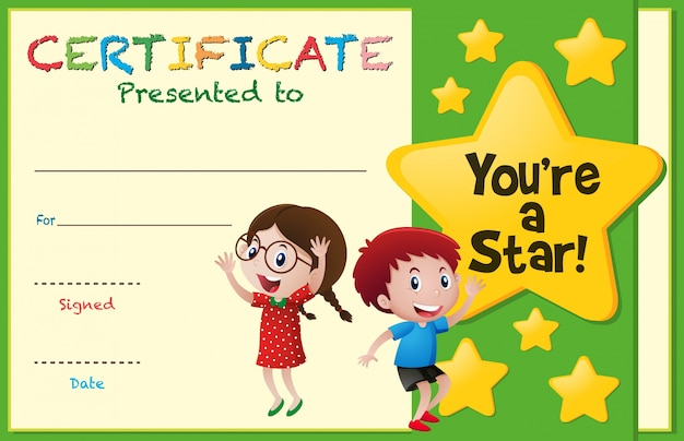 Certificate template with kids and stars vector premium for Certificate template for kids
