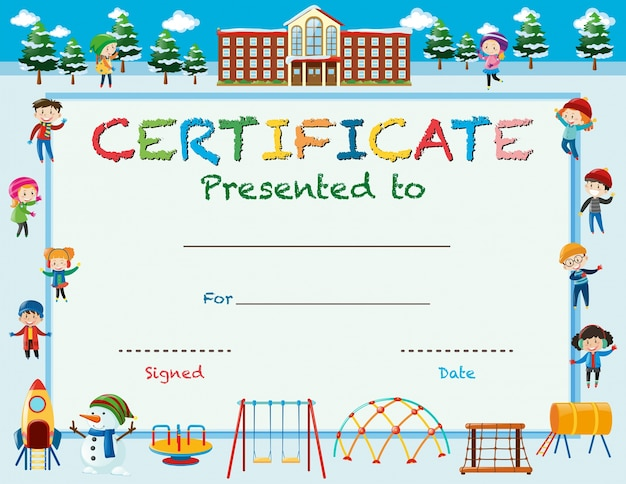 Certificate template with kids in winter at school Vector – Certificate Template for Kids