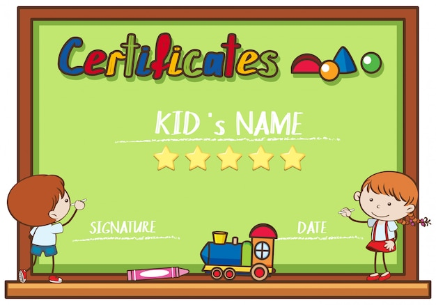 Certificate template with kids writing on board vector premium certificate template with kids writing on board premium vector yadclub