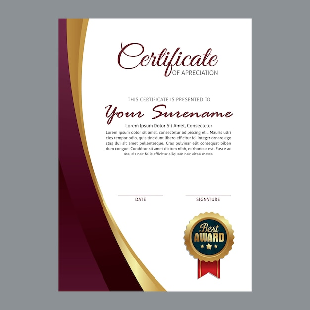 Certificate template with luxury and modern pattern vector certificate template with luxury and modern pattern premium vector yelopaper Gallery