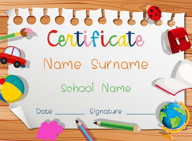Certificate template with many toys Free Vector