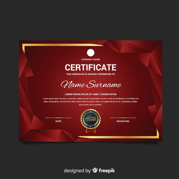 Certificate template with modern shapes Free Vector